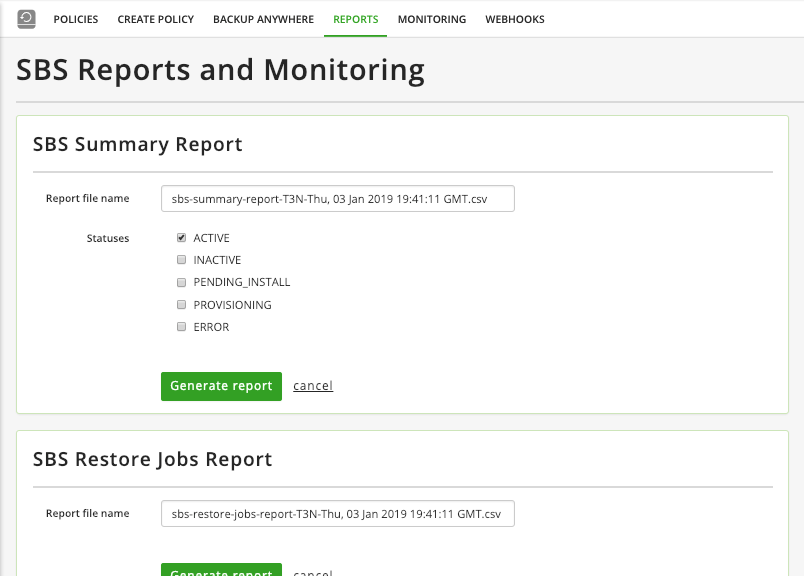 Reporting features help you analyze backup and restore job information.